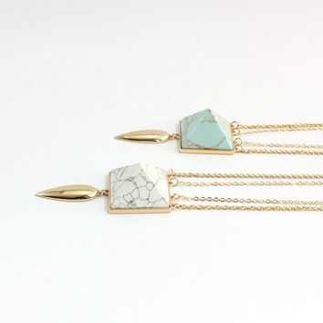 Double triangle three-dimensional white pine, turquoise necklace