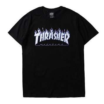 THRASHER Woman Men Flame Fashion Print Tunic Shirt Top Blouse