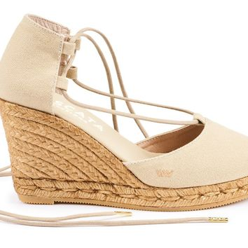 Aro Canvas Wedges - Beige
