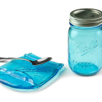 Melted Mason Jar Spoon Rest / Blue Ball Jar Spoon Rest / Ball Jar Soap Holder / Spoon Holder / Housewarming Gift / Christmas Gift Ideas
