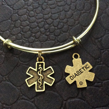 Diabetic Medical Alert (Double Sided Charm) on an Adjustable Bangle Bracelet Diabetes Charm Bangle in Silver or Gold