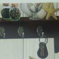 Wall Shelf with Key Holders Espresso Encore Home Decor 14 x 5 x 5 inch  New