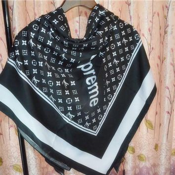 LV x Supreme Silk Scarf Louis Vuitton Women Silk Kerchief Cape Scarf Scarves-3