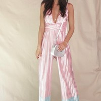 Beautiful Dream Metallic Halter Plunging Jumpsuit