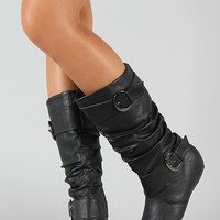 Wild Diva Candies-15 Buckle Slouchy Mid Calf Boot