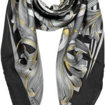 "Authentic Versace $330 Baroque Medusa Black Grey Gold Print Silk Scarf 34""x34"""