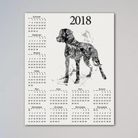 Dogo Argentino Dog Calendar 2018 Watercolor New Year Present Breed Picture Animal Pet Portrait Gift