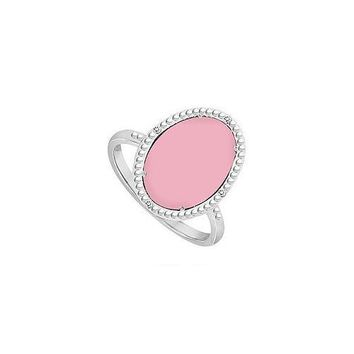 Sterling Silver Pink Chalcedony and Cubic Zirconia Ring 15.08 CT TGW