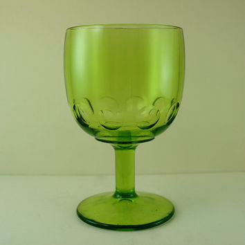 Vintage Bartlett Collins Green Glass Schooner Goblet, Beer Pint Goblet, Round Thumbprint Pattern
