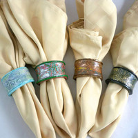 Handmade colorful napkin ring set