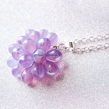 Lilac Berry Pendant Necklace - Limited Edition, Pastel Cocktail Necklace, Soft Purple Cluster Pendant, Bubble Glass Necklace, Holiday Gift