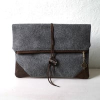 """Clutch """"L'Enveloppe"""", handbag,  fold over clutch,Oxford grey wool and FAUX SUEDE, tree pendant, Ready To Ship."""