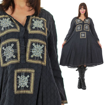Embroidered dress Vintage 1970s Ethnic Tribal Tent Festival  Long sleeve embroidered metallic trim loose fit Medium
