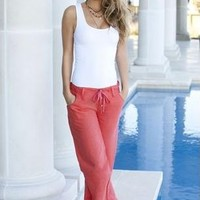 LINEN DRAWSTRING PANT | Body Central