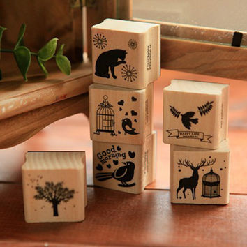 DIY Cute Kawaii Wooden Stamp Animal Cat Dog Bird Tree Stamps Set for Diary Photo Album Scrapbooking Stationery Free shipping 610
