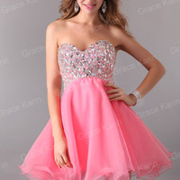 ❤US PINK Beaded Prom Short Graduation Dresses Homecoming Dress Party Ball Gown 1
