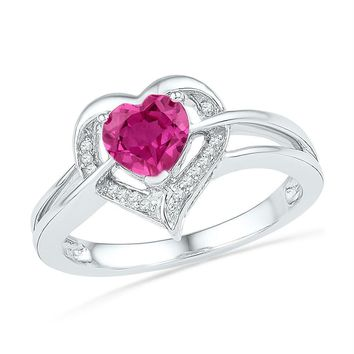 Sterling Silver Women's Round Lab-Created Pink Sapphire Heart Diamond Ring 1-1/8 Cttw - FREE Shipping (US/CAN)