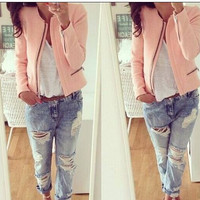 Pink Zip Sleeve Coat