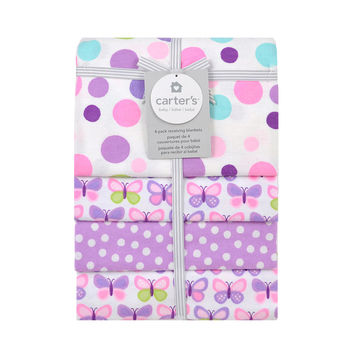 Carter's Pink Butterfly Dot 4 Pack Flannel Receiving Blanket
