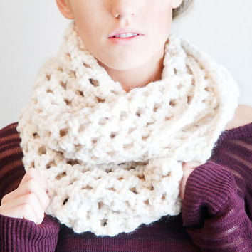 Chunky Crochet Infinity Double Wrap Circle Scarf Urban Boho Large Warm Winter Fall Neck Warmer Style in Cream