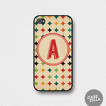 iPhone 5 Case Personalized Initial Vintage Colorful Pattern iPhone 5S Case, iPhone 4/4S Case, iPhone 5C Case