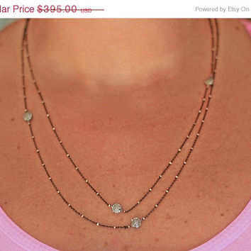 CIJ SALE Bobbi: Multi Diamond Station Long Layering Necklace, Diamonds by the Yard 2015, 3/4 CTW!
