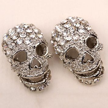 SHIPS FROM USA Skull skeleton stud earrings for women biker punk rock crystal jewelry  EM33  gold silver black color