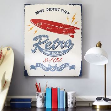 Retro Surfboard Canvas Wall Art