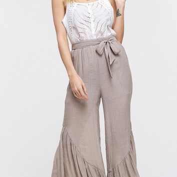 Always On My Mind Mauve Tie Waist Ruffle Flounce Wide Leg Loose Culotte Pants (Pre-order)