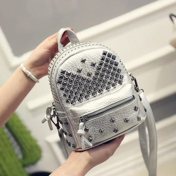 New Arrival Fashion Women PU leather Backpack Preppy  Rivet School Bags Ladies Mini Backpack Traveling Backpack