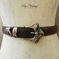 JG HOOK Brown Leather Belt, Silver Buckle Made In Italy, Size Small Leather Vintage Belt