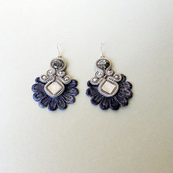 Soutache jewelry earrings Handmade jewelry Soutache Jewelry OOAK Soutache earrings Gray lacy soutache earrings