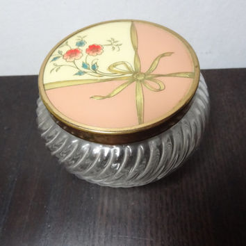 Vintage Round Glass Vanity Powder or Trinket Box/Jar - Fan or Wrapped Package Design - Art Deco Style - Bed Or Bath Decor