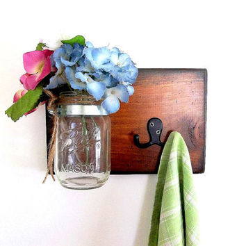 Mason Jar Wall Vase Hook Organizer, Towel hook dog leash treat holder hooks, Rustic Cottage Decor Wall hanging, Sconce, Bathroom Kitchen