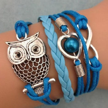 Free + Shipping NEW Infinity Owl Heart Pearl Friendship Leather Charm Bracelet Silver Cute