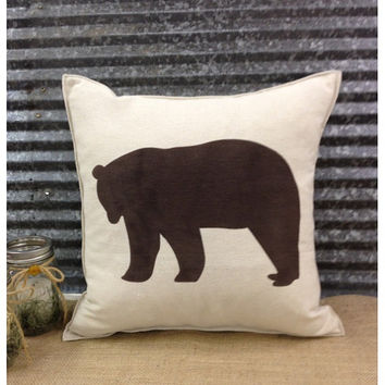 Decorative Pillow with a Bear silhouette. COMPLETE pillow.