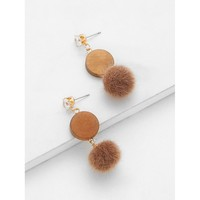 Rhinestone Top Pom Pom Decorated Drop Earrings