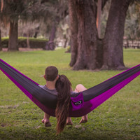 Lightweight Double Camping Hammock & Hammock Tree Straps- Perfect for the Beach, Traveling, Hiking and Backpacking