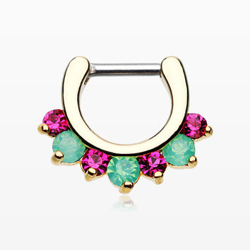 Golden Opalite Sparkle Deuce Septum Clicker Ring