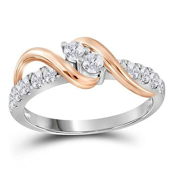 14kt White Two-tone Gold Women's Round Diamond 2-stone Bridal Wedding Engagement Ring 1-1/2 Cttw - FREE Shipping (US/CAN)