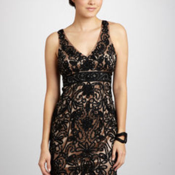 ideeli | SUE WONG Lace Overlay V-Neck Dress