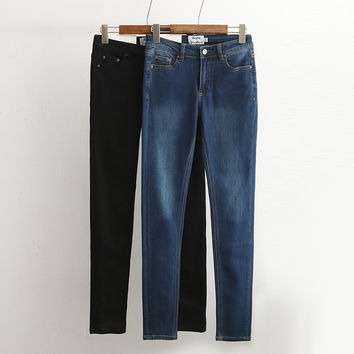 Summer Rinsed Denim Stretch Jeans Skinny Pants [4920639620]