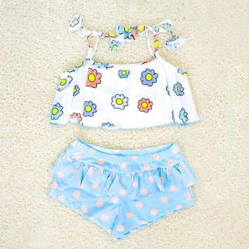 Childrens Swimsuit Cute 2018 Girls Floral Swimming Suits Children Bathing Suits Girls  Lovely Girls Swimwear Girls Biquini Suits G42-K493 KO_25_2
