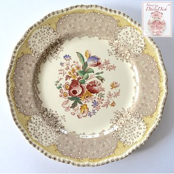 """RARE Vintage English Polychrome Brown & Red Two Color Transferware Plate Royal Doulton Tulips Roses Flowers 10.25"""""""