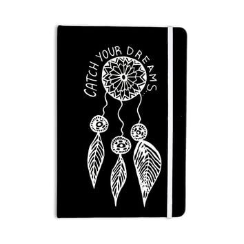 "Vasare Nar ""Catch Your Dreams Black"" White Typography Everything Notebook"