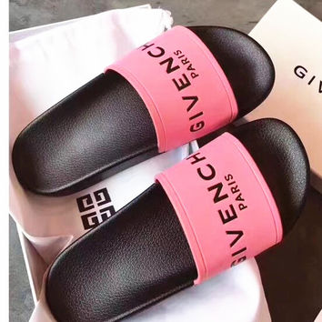 GIVENCHY PARIS andals Comfortable Loose Slippers Pink B-CSXY