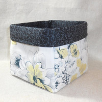 Lovely Yellow, Gray And White Floral Sketchbook Fabric Basket