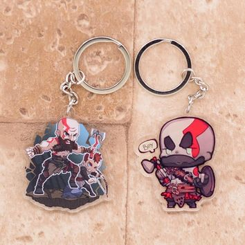 2018 God of War Keychain Kratos Double Sided Acrylic Key Chain Pendant Anime Accessories Cartoon Key Ring DBS1P
