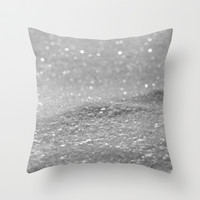 Glitter Silver Throw Pillow by Alice Gosling