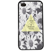 FOREVER YOUNG iPhone Case / Daisy Quote iPhone 4 Case Hipster iPhone 5 Case iPhone 4S Case iPhone 5S Case Yellow Lyrics Cute Phone Case